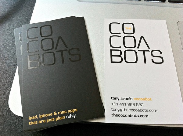 New CocoaBots business cards