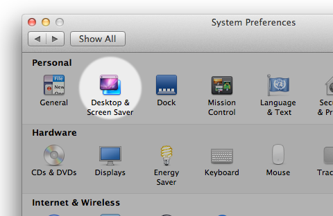 Desktop & Screen Saver system preferences icon highlighted