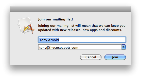 Screenshot of dialog asking to join a mailing list from CBMailingListSignup