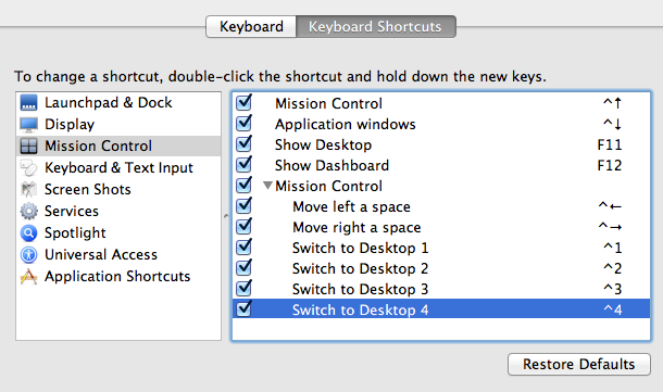 Keyboard Shortcuts system preferences with Mission Control selected