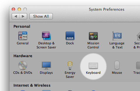 Keyboard system preferences icon highlighted