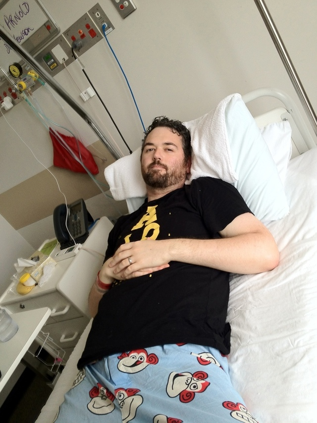 Tony in hospital, post surgery