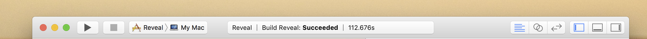 Xcode Toolbar showing build duration