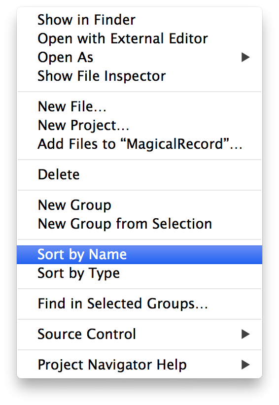 Xcode context menu showing 'Sort Files By Name' highlighted