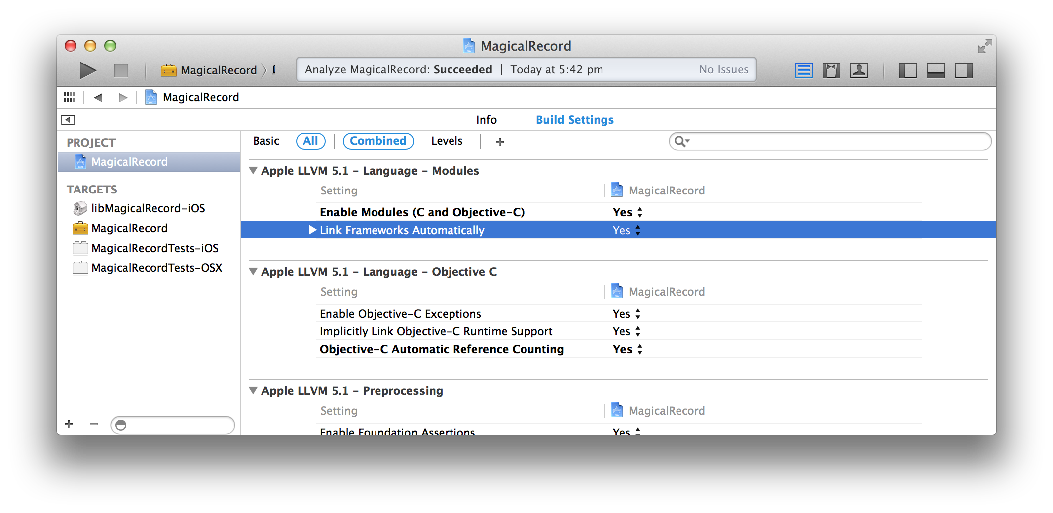 Xcode project settings showing 'Link Frameworks Automatically' setting