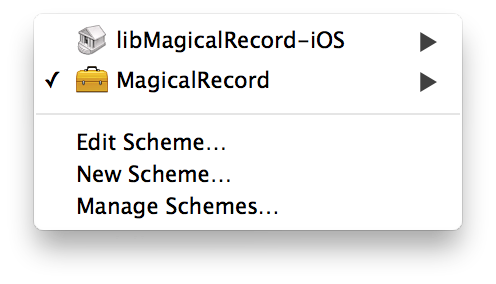 Xcode schemes menu looking super sharp