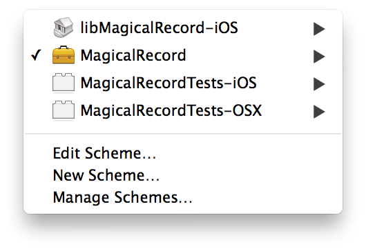 Xcode schemes menu showing just the important schemes