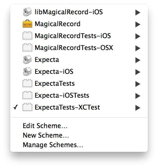 Xcode schemes menu showing many schemes